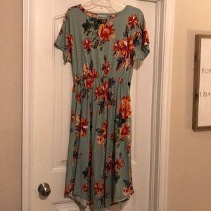 Like New Reb & J 220 sage green floral midi dress